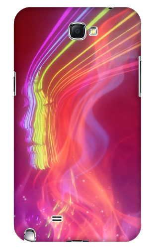Cool Pink Robot Space Rainbow Girl Samsung Galaxy Note 2 Case