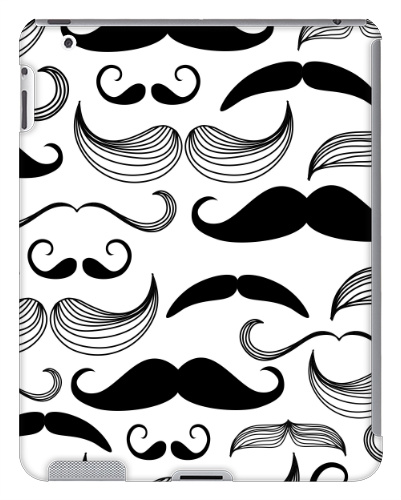 Black and White Mustaches iPad 2 and 3 Case