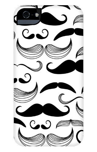 Black and White Mustaches iPhone 5 and 5s Tough Case