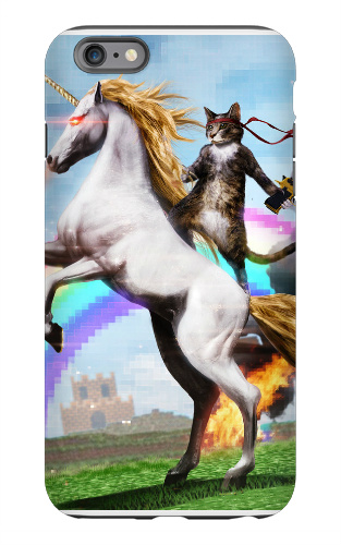 Badass Cat on Badass Unicorn iPhone 6 Plus Tough Case