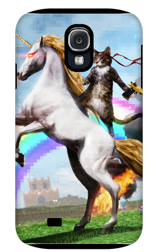 Badass Cat on Badass Unicorn Samsung Galaxy S4 Tough Case